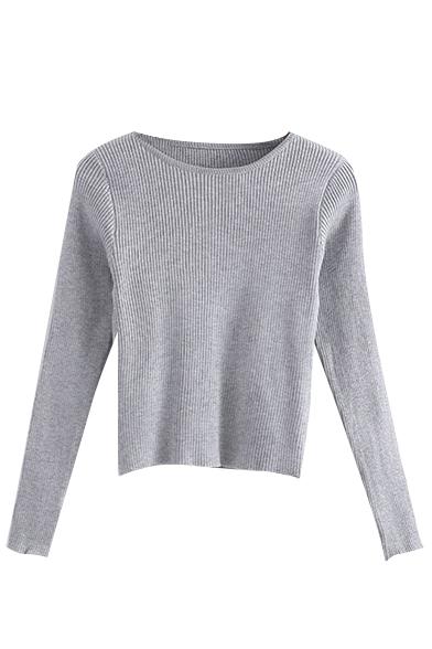 Round Neck Long Sleeve Plain Knit Sweater
