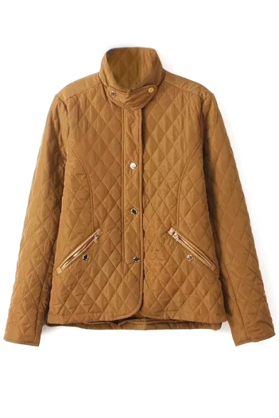 Stand Collar Long Sleeve Zipper Pocket Single Breasted Quilted Coat