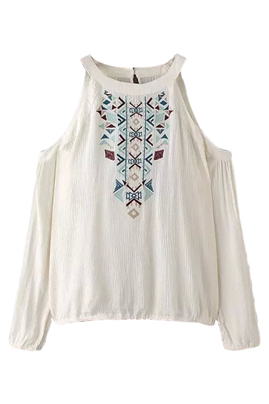 Tribal Embroidery Halter Cold Shoulder Long Sleeve Tee