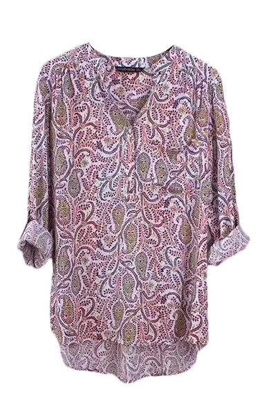 Button Collarless Long Print Tribal Shirt Sleeve Front q5wSxH