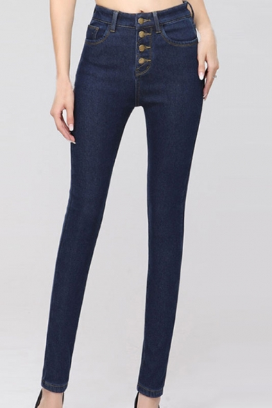 High Waist Button Fly Skinny Plain Jeans Beautifulhalo Com