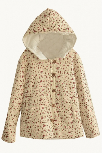 Hooded Floral Print Single Breasted Padded Coat