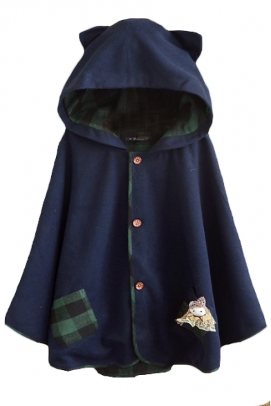 Hooded Button Down Tweed Plaid Lining Cute Patchwork Cape