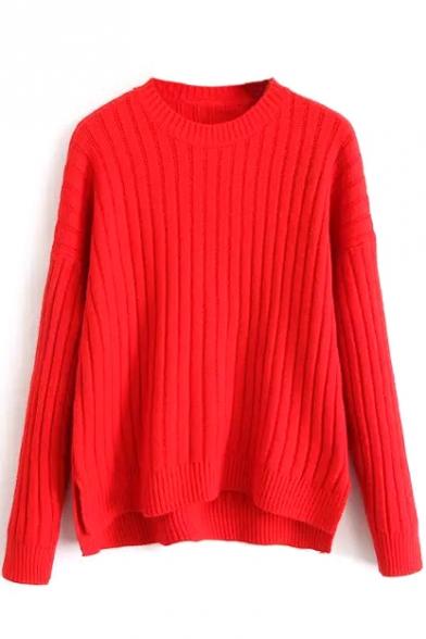 Plain Round Neck Batwing Long Sleeve Dip Hem Sweater