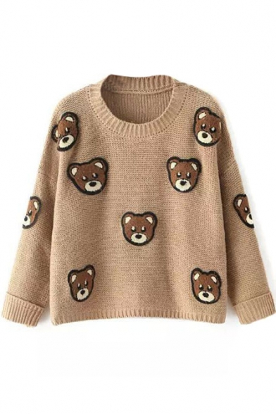 Round Neck Bear Patchwork Long Sleeve Sweater