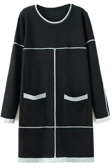 Round Neck Long Sleeve Color Block Double Pockets Dress
