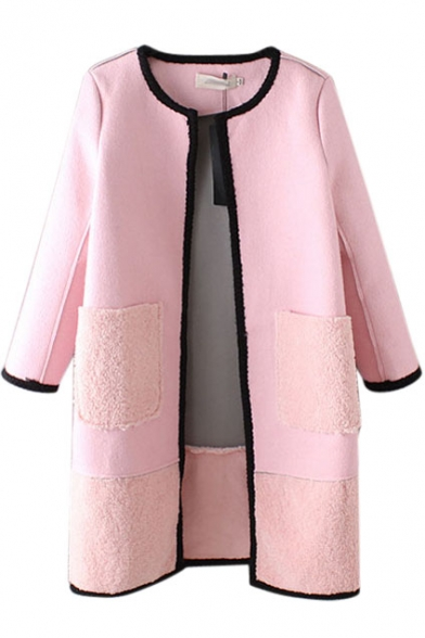 Round Neck Long Sleeve Open Front Long Coat
