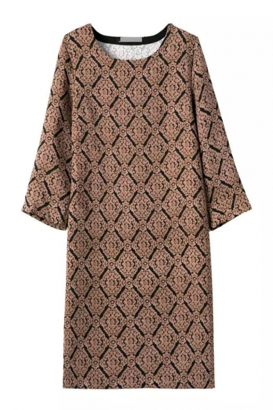 Round Neck Long Sleeve Print Midi Shift Dress