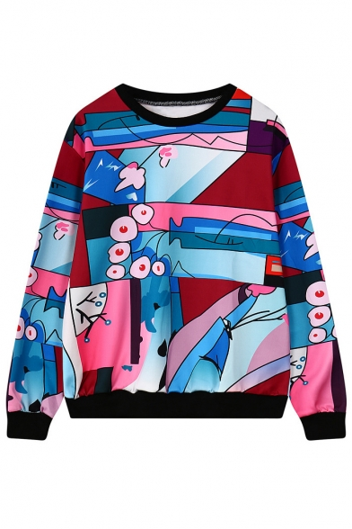 Round Neck Long Sleeve Pullover Print Sweatshirt