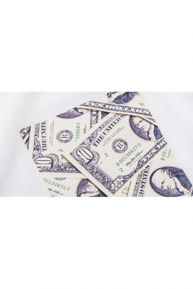 Tee Short Round Sleeve Neck Money Print 4wgXPpxvq