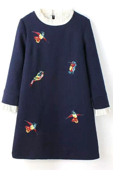 Stand Up Neck Bird Embroidery Long Sleeve Color Block Dress