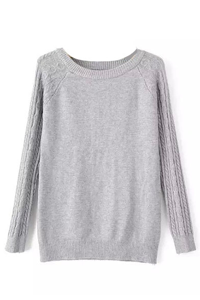 Plain Round Neck Raglan Sleeve Cable Knit Sweater