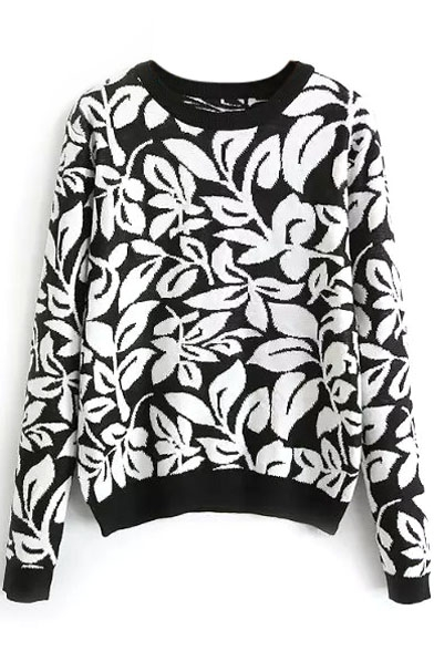 Round Neck Floral Jacquard Long Sleeve Sweater