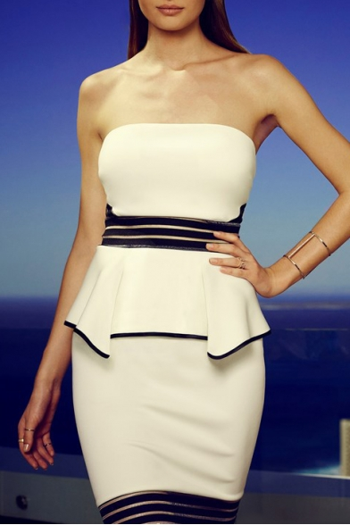 Strapless Stripe Trims Puplum Hem Pencil Dress