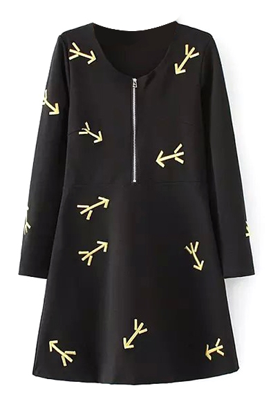 Zipper Long Sleeve Embroidery Black Round Neck Dress