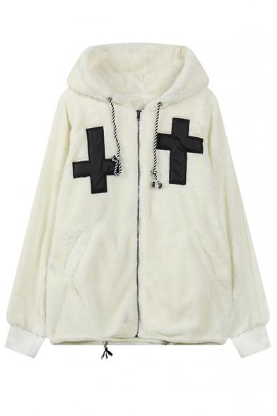 Hooded Zip Up Long Sleeve Patchwork Coat