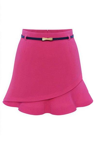 Zip Side Plain Ruffle Hem Bodycon Mini Skirt