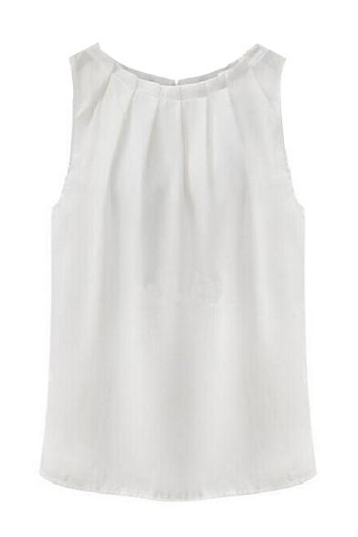 Womens Sleeveless Tops Chiffon Round Neck Pleated Blouse T-Shirt