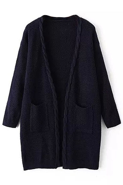 Cable Knit Hem Double Pockets Cocoon Neck Cardigan
