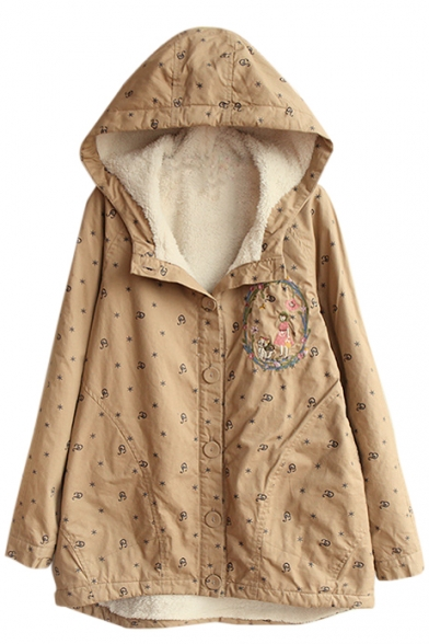 Embroidery Long Sleeve Hooded Single Breasted Print Coat