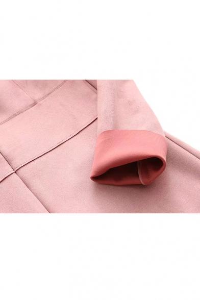 Round Neck Long Sleeve Ruffle Hem Suede Midi Dress