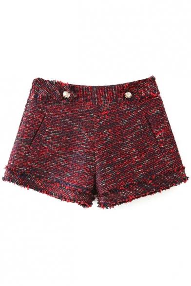 Zipper Side Mid Waist Double Pockets Tweed Shorts