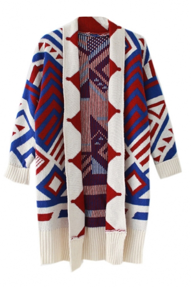 Cocoon Neck Long Sleeve Geometric Print Long Cardigan