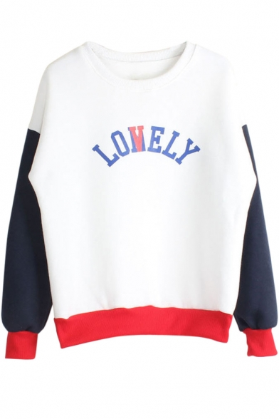 Color Block Letter Print Long Sleeve Sweatshirt