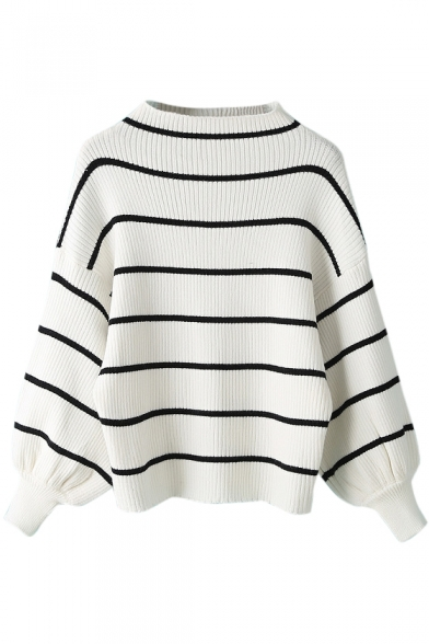 High Neck Stripes Long Sleeve Elastic Wrist Sweater