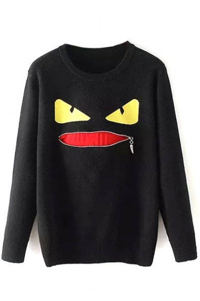 Monster Print Zip Mouth Detail Long Sleeve Sweater