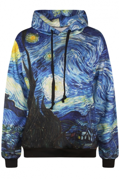 Oil Painting Print Long Sleeve Hooded Sweatshirt