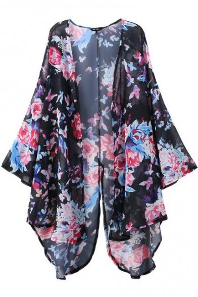 Split Back Floral Print Long Sleeve Kimono