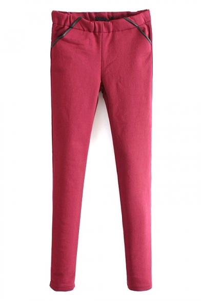 Elastic Waist PU Patchwork Skinny Pants