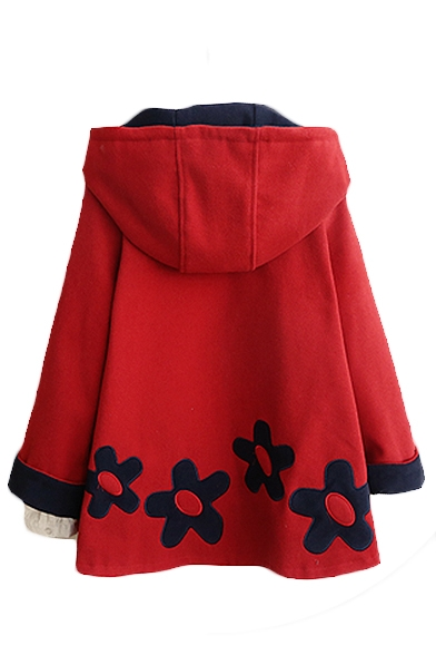 Hooded Long Sleeve Floral Embroidery Coat