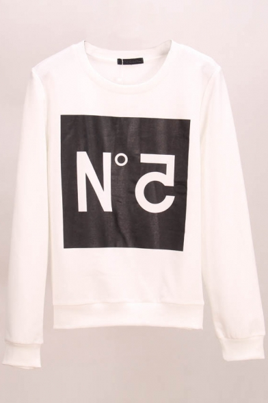 Long Sweatshirt Neck Sleeve Print Letter Round RwBzFq