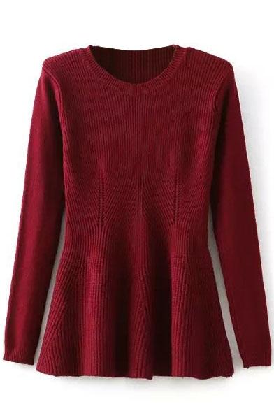 Plain Long Sleeve Hollow Out Puplum Sweater