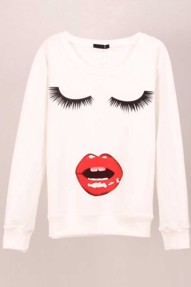 Print Long Sleeve Round Neck Pullover Sweatshirt