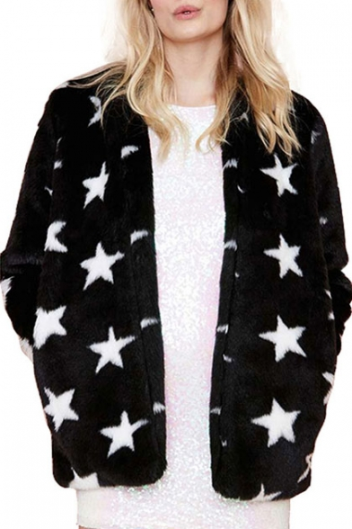 Star Print Long Sleeve Open Front Faux Fur Coat - Beautifulhalo.com