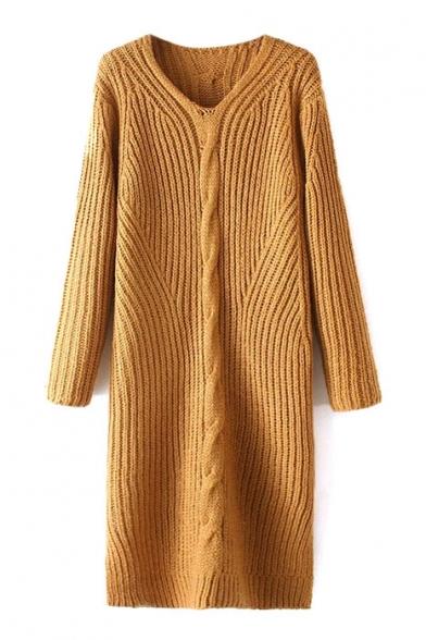 V-Neck Long Sleeve Plain Maxi Knit Dress