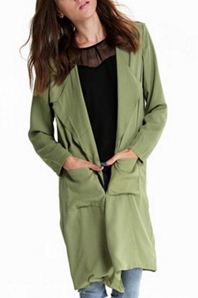 Waterfall Neck Long Sleeve Green Long Coat