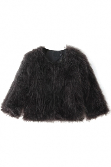Black Faux Fur 3/4 Length Sleeve Cropped Coat