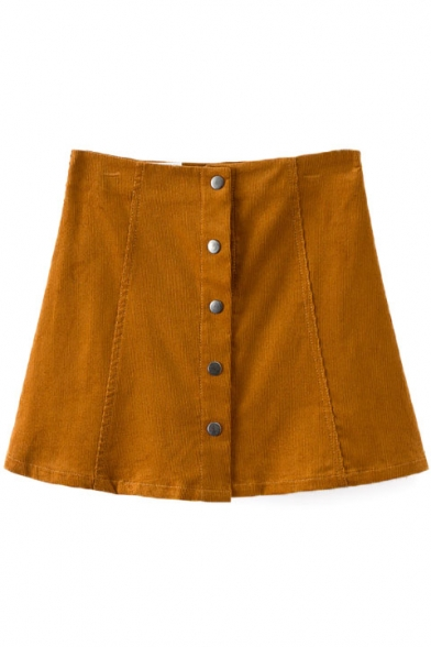 Button Fly A-Line Mini Plain Skirt