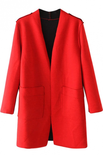 Collarless Long Sleeve Open Front Red Coat
