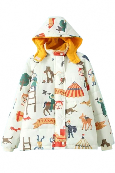 Hooded Cartoon Print Long Sleeve Zipper Coat