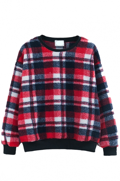 Lamb Wool Plaid Long Sleeve Round Neck Sweatshirt