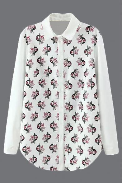 Lapel Long Sleeve Print Chiffon Shirt