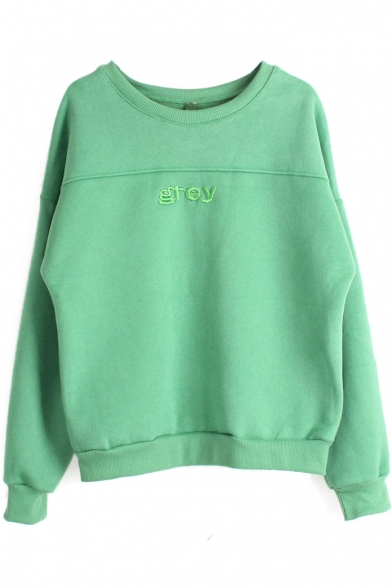 Round Neck Long Sleeve Plain Embroidery Sweatshirt