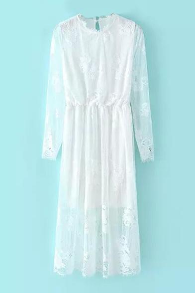 Round Neck Plain Long Sleeve Maxi Elastic Waist Lace Dress