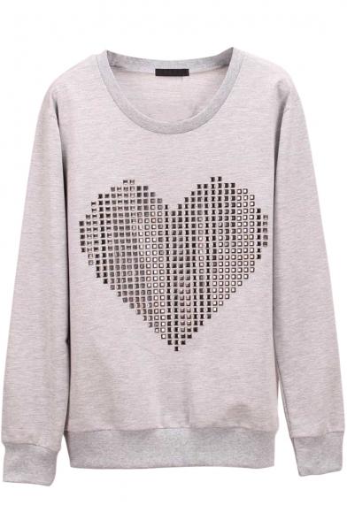 Heart Print Long Sleeve Round Neck Plain Sweatshirt