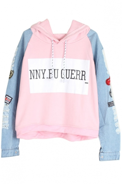 Hooded Long Sleeve Letter Print Color Block Sweatshirt